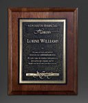 Walnut Panel; Gold Tone Plate Achievement Awards